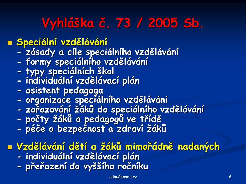 7pilar@msmt.cz Typy škol pro žáky se speciálními vzdělávacími potřebami Pro zrakově postižené MŠ, ZŠ, SŠ (G, SOŠ, SOU, OU, PŠ, Konzervatoř) Pro zrakově postižené MŠ, ZŠ, SŠ (G, SOŠ, SOU, OU, PŠ, Konzervatoř) Pro sluchově postižené MŠ, ZŠ, SŠ (G, SOŠ, SOU, OU, PŠ) Pro sluchově postižené MŠ, ZŠ, SŠ (G, SOŠ, SOU, OU, PŠ) Pro hluchoslepé MŠ, ZŠ Pro hluchoslepé MŠ, ZŠ Pro tělesně postižené MŠ, ZŠ, SŠ (G, SOŠ, SOU, OU, PŠ) Pro tělesně postižené MŠ, ZŠ, SŠ (G, SOŠ, SOU, OU, PŠ) Pro děti s poruchou řeči MŠ logopedická, ZŠ logopedická Pro děti s poruchou řeči MŠ logopedická, ZŠ logopedická Pro děti s mentálním postižením MŠ speciální, ZŠ praktická, ZŠ speciální, OU, PŠ Pro děti s mentálním postižením MŠ speciální, ZŠ praktická, ZŠ speciální, OU, PŠ Pro děti se specifickými poruchami učení / chování ZŠ Pro děti se specifickými poruchami učení / chování ZŠ Při zdravotnických zařízeních MŠ, ZŠ, ZŠ speciální Při zdravotnických zařízeních MŠ, ZŠ, ZŠ speciální