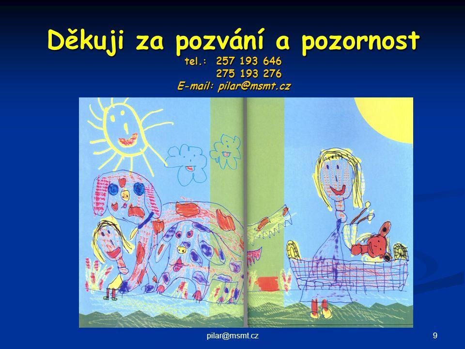 9pilar@msmt.cz Děkuji za pozvání a pozornost tel.: 257 193 646 275 193 276 E-mail: pilar@msmt.cz