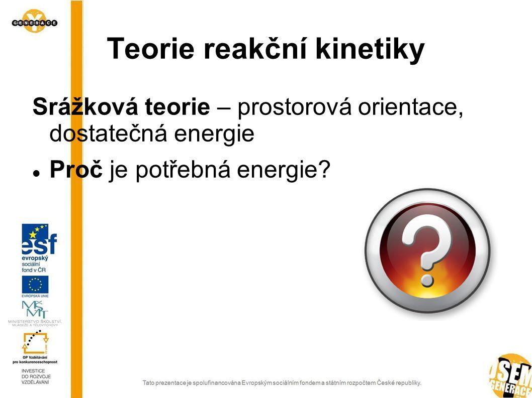 Teorie reakční kinetiky Srážková teorie – prostorová orientace, dostatečná energie Proč je potřebná energie?