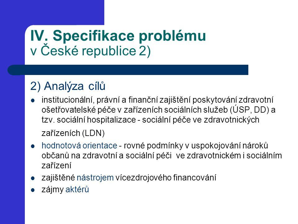 IV. Specifikace problému v České republice 2) 2) Analýza cílů institucionální, právní a finanční zajištění poskytování zdravotní ošetřovatelské péče v
