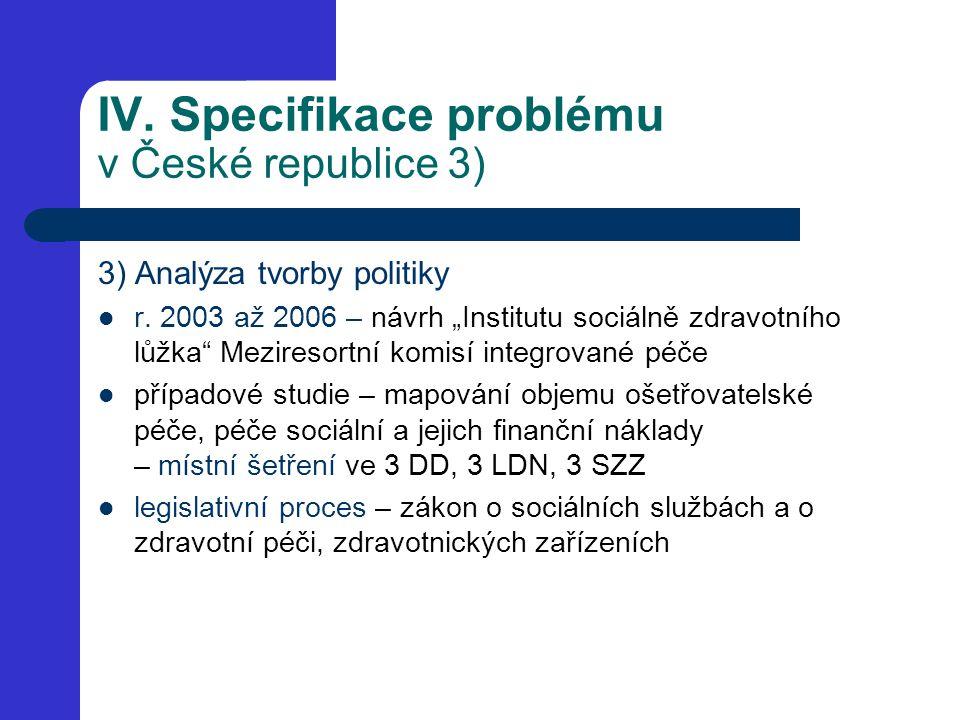 """IV. Specifikace problému v České republice 3) 3) Analýza tvorby politiky r. 2003 až 2006 – návrh """"Institutu sociálně zdravotního lůžka"""" Meziresortní k"""