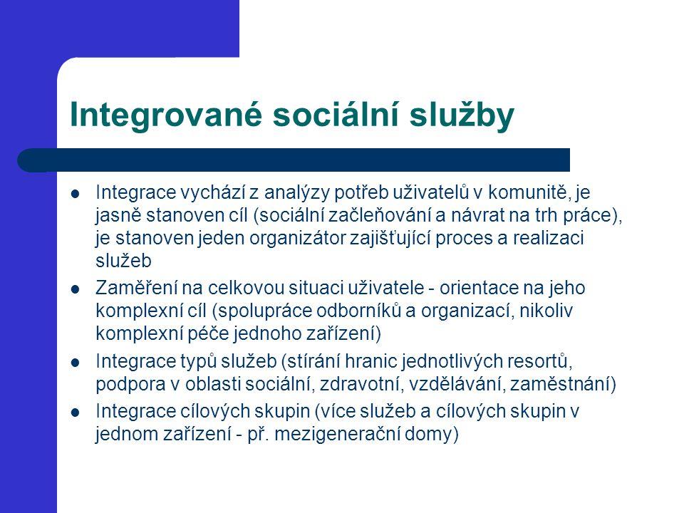Integrované sociální služby Integrace vychází z analýzy potřeb uživatelů v komunitě, je jasně stanoven cíl (sociální začleňování a návrat na trh práce