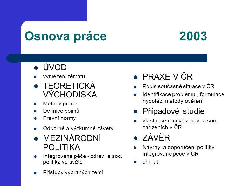 Osnova práce 2003 ÚVOD vymezení tématu TEORETICKÁ VÝCHODISKA Metody práce Definice pojmů Právní normy Odborné a výzkumné závěry MEZINÁRODNÍ POLITIKA I