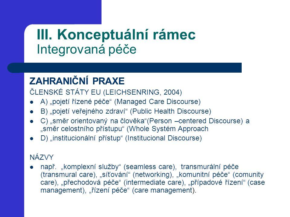 """III. Konceptuální rámec Integrovaná péče ZAHRANIČNÍ PRAXE ČLENSKÉ STÁTY EU (LEICHSENRING, 2004) A) """"pojetí řízené péče"""" (Managed Care Discourse) B) """"p"""
