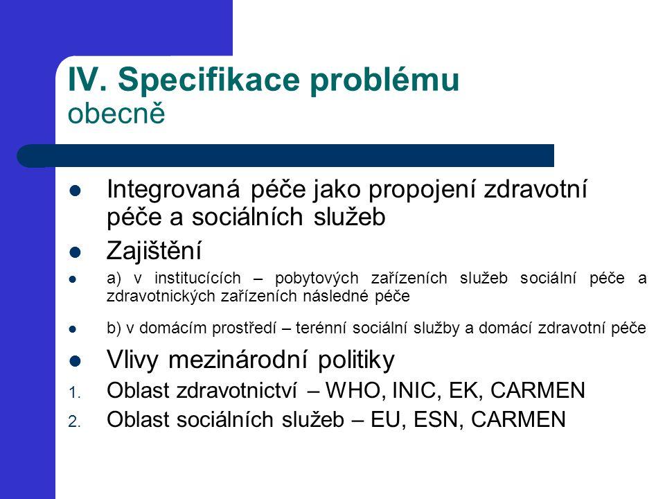 IV. Specifikace problému obecně Integrovaná péče jako propojení zdravotní péče a sociálních služeb Zajištění a) v institucících – pobytových zařízeníc