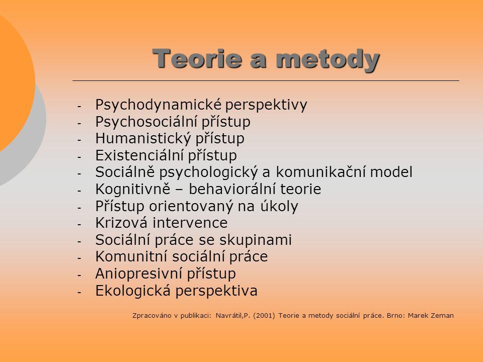 Teorie a metody - Psychodynamické perspektivy - Psychosociální přístup - Humanistický přístup - Existenciální přístup - Sociálně psychologický a komun