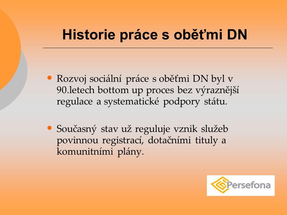 Rozvoj sociální práce s oběťmi DN byl v 90.letech bottom up proces bez výraznější regulace a systematické podpory státu. Současný stav už reguluje vzn