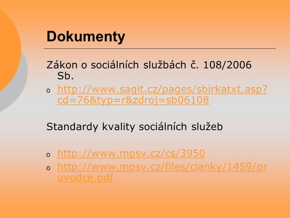 Dokumenty Zákon o sociálních službách č. 108/2006 Sb. o http://www.sagit.cz/pages/sbirkatxt.asp? cd=76&typ=r&zdroj=sb06108 http://www.sagit.cz/pages/s