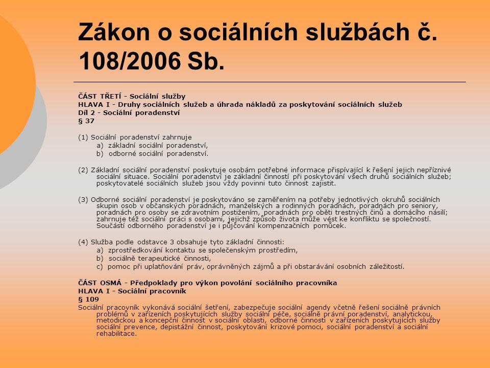 Zákon o sociálních službách č. 108/2006 Sb. ČÁST TŘETĺ - Sociální služby HLAVA I - Druhy sociálních služeb a úhrada nákladů za poskytování sociálních