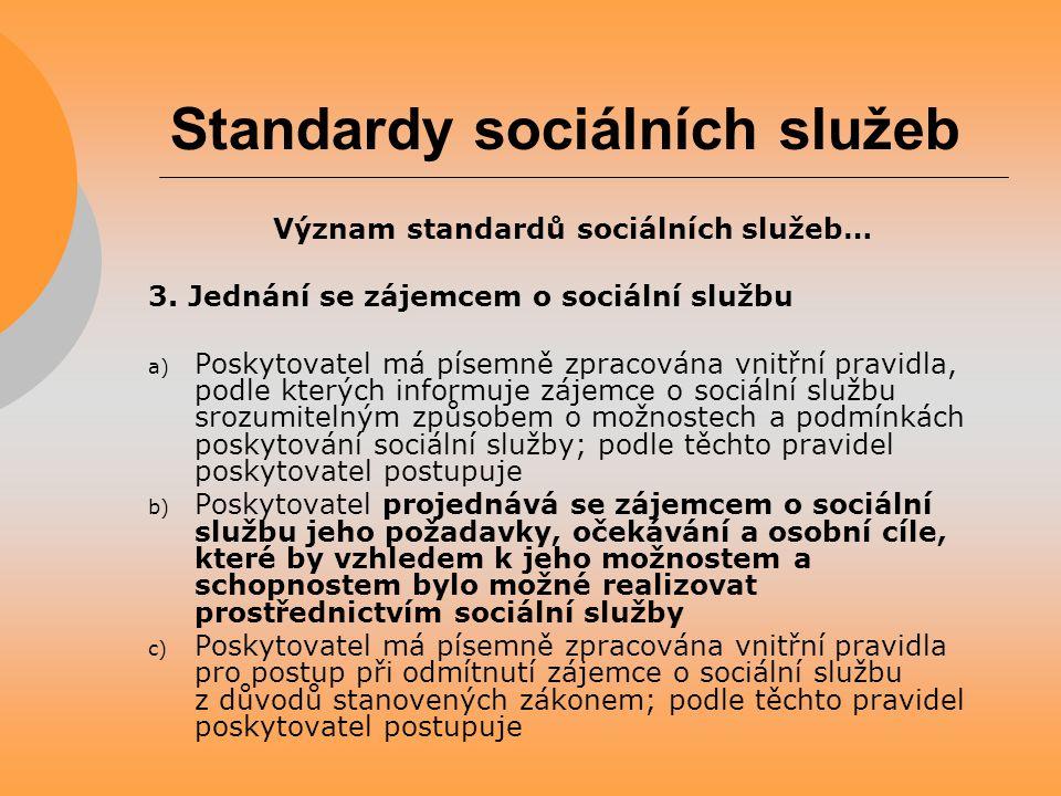 Standardy sociálních služeb Význam standardů sociálních služeb… 3. Jednání se zájemcem o sociální službu a) Poskytovatel má písemně zpracována vnitřní