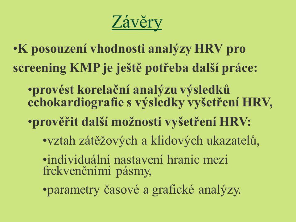 Závěry K posouzení vhodnosti analýzy HRV pro screening KMP je ještě potřeba další práce: provést korelační analýzu výsledků echokardiografie s výsledky vyšetření HRV, prověřit další možnosti vyšetření HRV: vztah zátěžových a klidových ukazatelů, individuální nastavení hranic mezi frekvenčními pásmy, parametry časové a grafické analýzy.