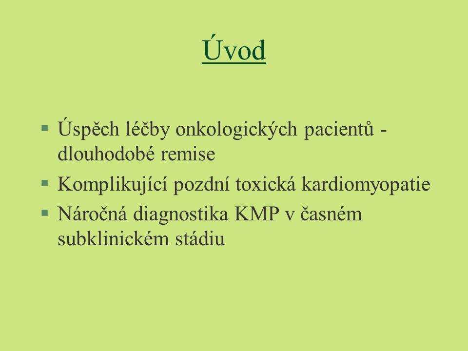 Úvod §Úspěch léčby onkologických pacientů - dlouhodobé remise §Komplikující pozdní toxická kardiomyopatie §Náročná diagnostika KMP v časném subklinickém stádiu