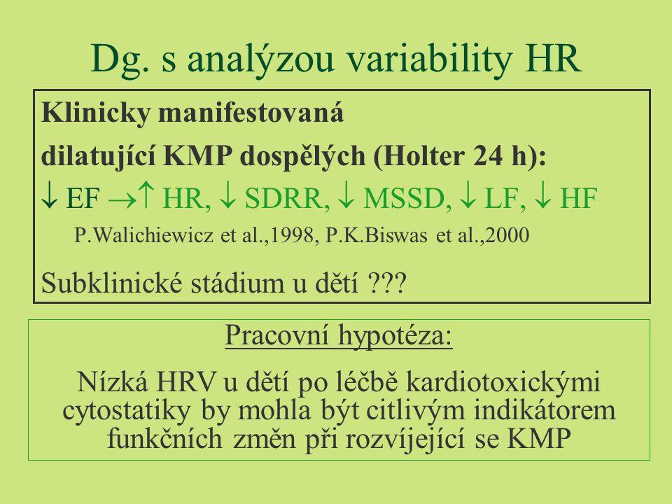 Vyšetřené děti §74 chlapců a 58 děvčat 1-12 let po léčbě akutní leukémie (50%), zhoubného lymfomu (35%), solidního tumoru (15%) §bez klinicky manifestní KMP §Věk 6-26 let (x=14,3) §Léčba kardiotoxická (neurotoxická, pulmotoxická) l Daunorubicin, Doxorubicin (180-400 mg/m2), l Cyclofosfamid (- Vincristin, Methotrexat)