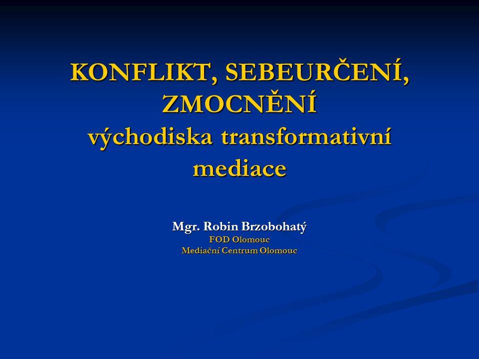 KONFLIKT, SEBEURČENÍ, ZMOCNĚNÍ východiska transformativní mediace Mgr. Robin Brzobohatý FOD Olomouc Mediační Centrum Olomouc