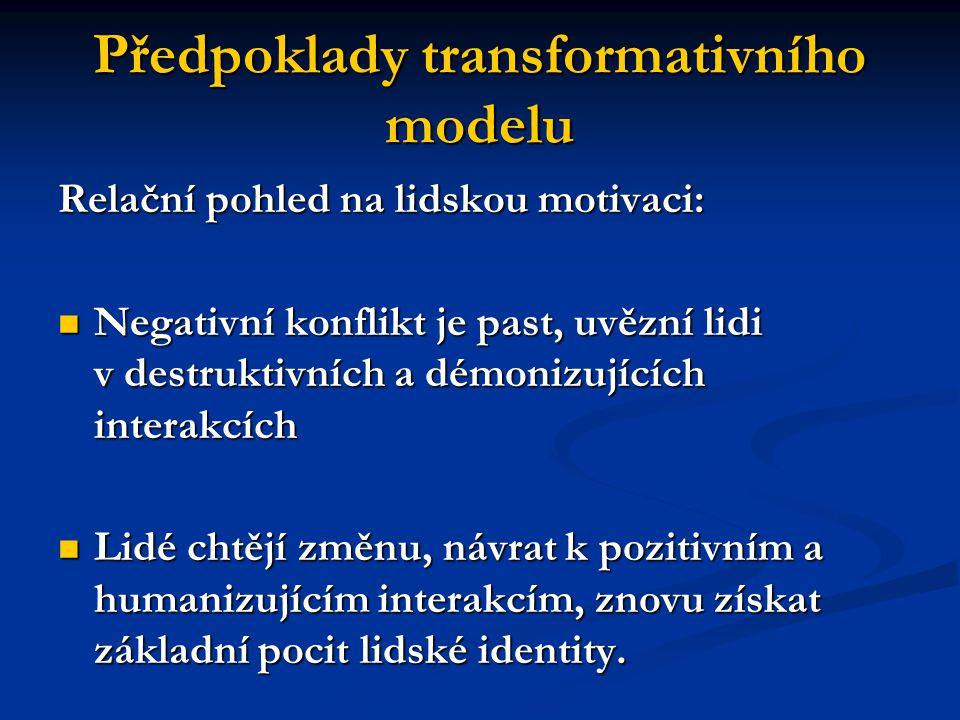 Předpoklady transformativního modelu Relační pohled na lidskou motivaci: Negativní konflikt je past, uvězní lidi v destruktivních a démonizujících int
