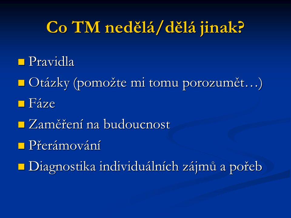 Co TM nedělá/dělá jinak? Pravidla Pravidla Otázky (pomožte mi tomu porozumět…) Otázky (pomožte mi tomu porozumět…) Fáze Fáze Zaměření na budoucnost Za