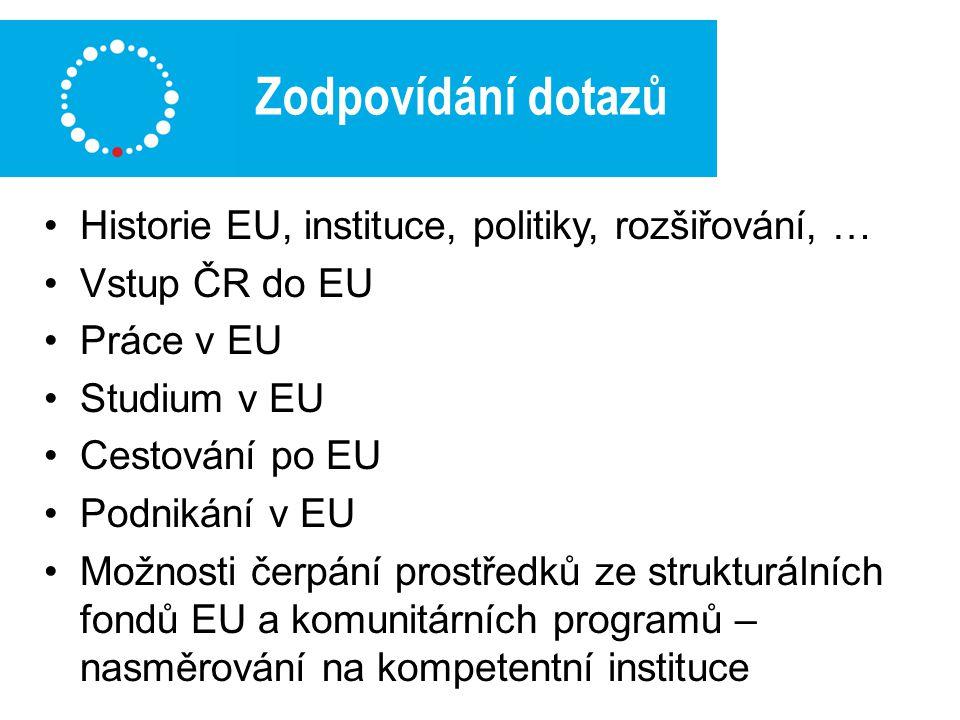 Zodpovídání dotazů Historie EU, instituce, politiky, rozšiřování, … Vstup ČR do EU Práce v EU Studium v EU Cestování po EU Podnikání v EU Možnosti čerpání prostředků ze strukturálních fondů EU a komunitárních programů – nasměrování na kompetentní instituce