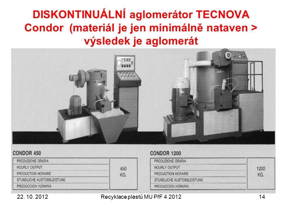DISKONTINUÁLNÍ aglomerátor TECNOVA Condor (materiál je jen minimálně nataven > výsledek je aglomerát Recyklace plastů MU PřF 4 20121422. 10. 2012