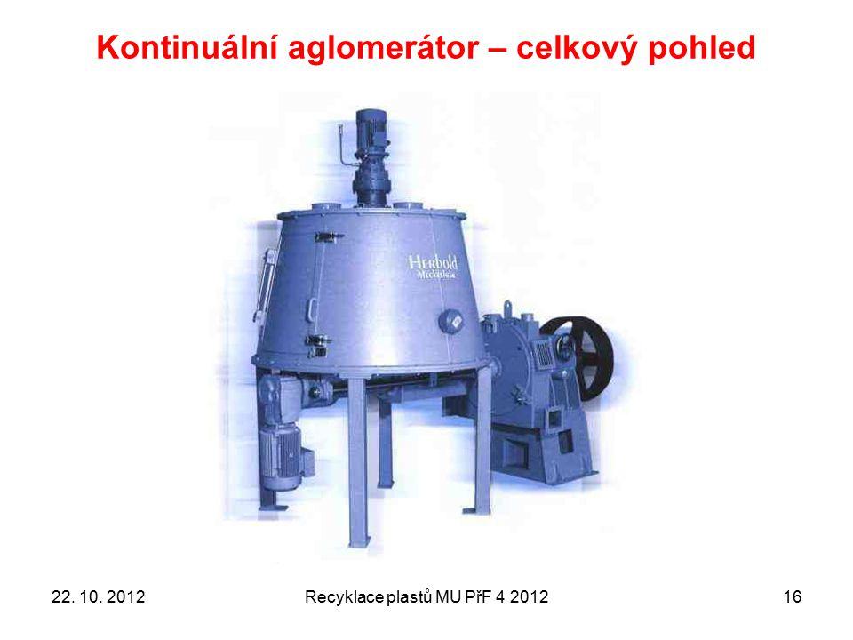 Kontinuální aglomerátor – celkový pohled Recyklace plastů MU PřF 4 20121622. 10. 2012