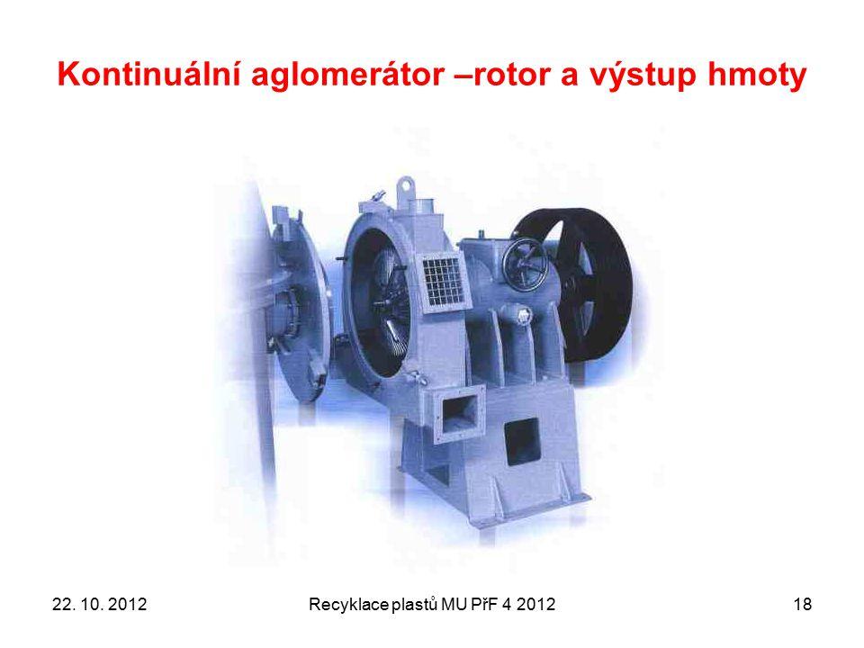 Kontinuální aglomerátor –rotor a výstup hmoty Recyklace plastů MU PřF 4 20121822. 10. 2012