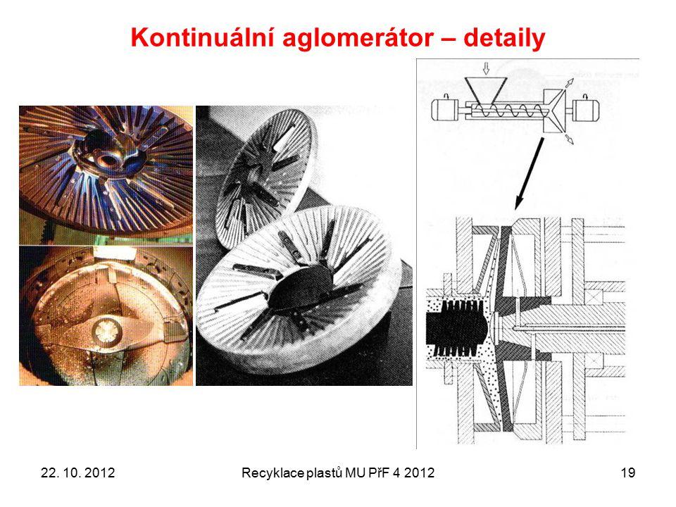 Kontinuální aglomerátor – detaily Recyklace plastů MU PřF 4 20121922. 10. 2012
