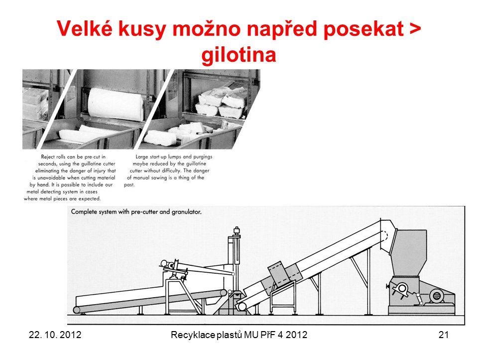 Velké kusy možno napřed posekat > gilotina Recyklace plastů MU PřF 4 20122122. 10. 2012