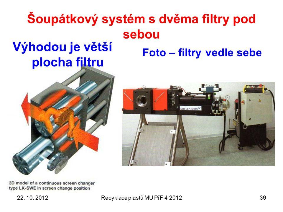 Šoupátkový systém s dvěma filtry pod sebou Recyklace plastů MU PřF 4 201239 Výhodou je větší plocha filtru Foto – filtry vedle sebe 22. 10. 2012