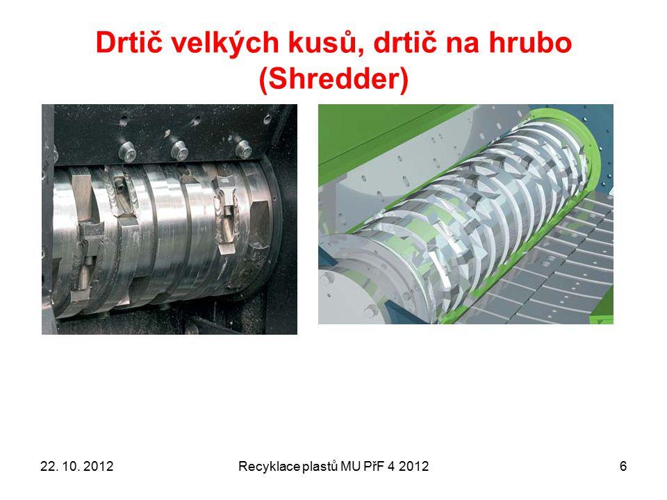 Mlýny (granulátory) Recyklace plastů MU PřF 4 20127 ZÁKLADNÍ RYSY: vstup nemusejí být štěpky, ale přímo výrobky (odpad) MÁ tzv.