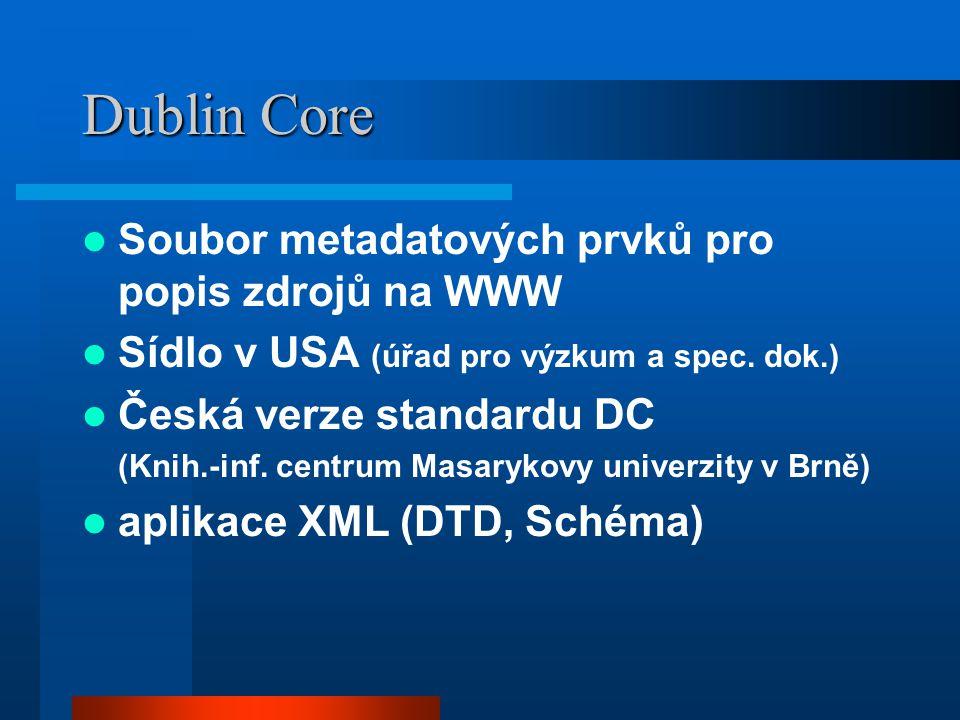 Dublin Core Soubor metadatových prvků pro popis zdrojů na WWW Sídlo v USA (úřad pro výzkum a spec. dok.) Česká verze standardu DC (Knih.-inf. centrum