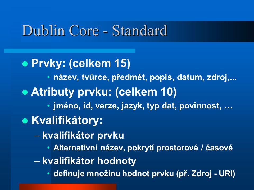 Dublin Core - Standard Prvky: (celkem 15) název, tvůrce, předmět, popis, datum, zdroj,... Atributy prvku: (celkem 10) jméno, id, verze, jazyk, typ dat