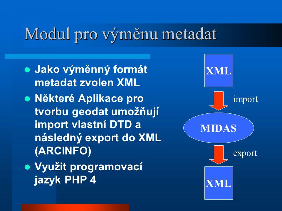 Modul pro výměnu metadat Jako výměnný formát metadat zvolen XML Některé Aplikace pro tvorbu geodat umožňují import vlastní DTD a následný export do XML (ARCINFO) Využit programovací jazyk PHP 4 MIDAS XML import export