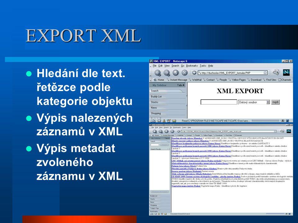 EXPORT XML Hledání dle text. řetězce podle kategorie objektu Výpis nalezených záznamů v XML Výpis metadat zvoleného záznamu v XML