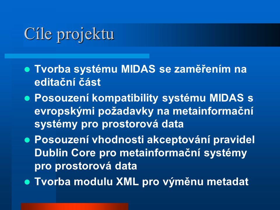Cíle projektu Tvorba systému MIDAS se zaměřením na editační část Posouzení kompatibility systému MIDAS s evropskými požadavky na metainformační systémy pro prostorová data Posouzení vhodnosti akceptování pravidel Dublin Core pro metainformační systémy pro prostorová data Tvorba modulu XML pro výměnu metadat