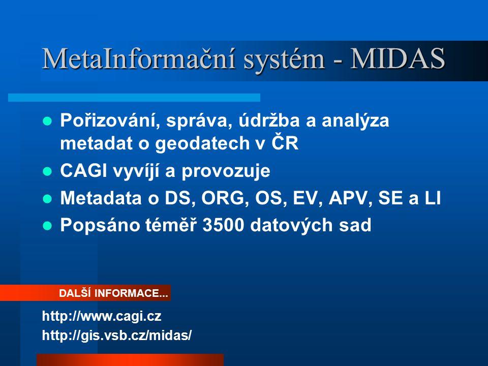 MetaInformační systém - MIDAS Pořizování, správa, údržba a analýza metadat o geodatech v ČR CAGI vyvíjí a provozuje Metadata o DS, ORG, OS, EV, APV, SE a LI Popsáno téměř 3500 datových sad http://www.cagi.cz http://gis.vsb.cz/midas/ DALŠÍ INFORMACE...