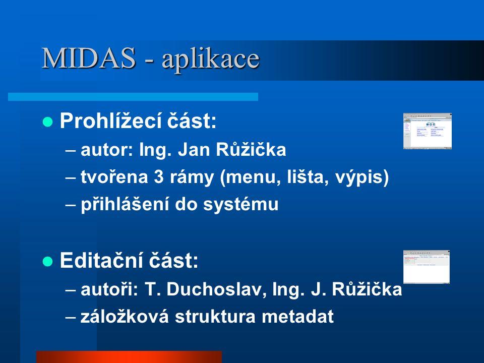 MIDAS - aplikace Prohlížecí část: –autor: Ing. Jan Růžička –tvořena 3 rámy (menu, lišta, výpis) –přihlášení do systému Editační část: –autoři: T. Duch