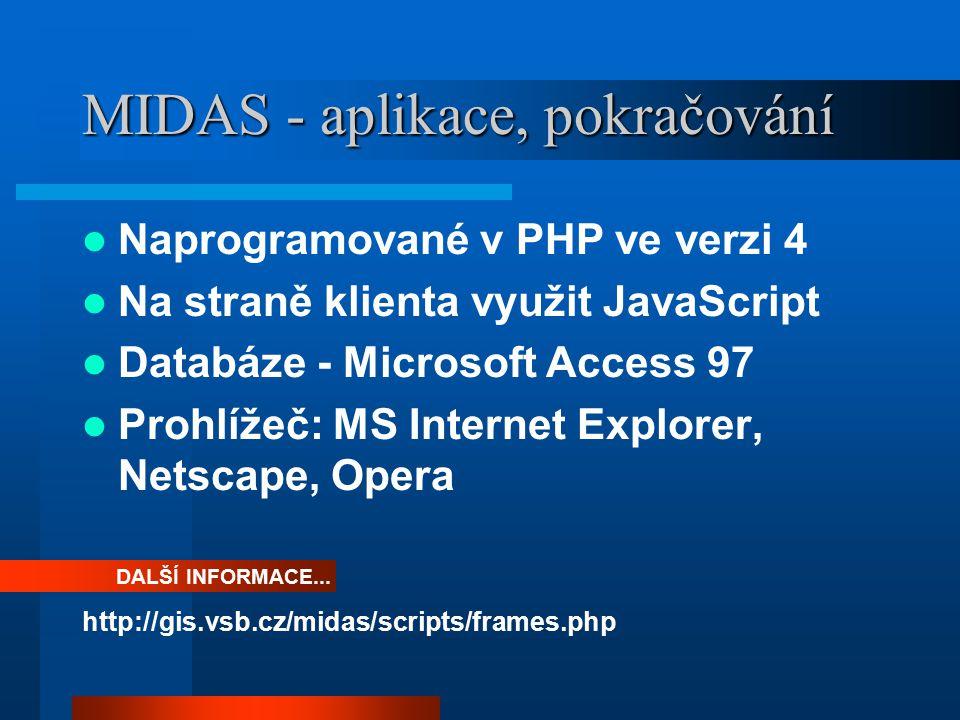 MIDAS - aplikace, pokračování Naprogramované v PHP ve verzi 4 Na straně klienta využit JavaScript Databáze - Microsoft Access 97 Prohlížeč: MS Internet Explorer, Netscape, Opera http://gis.vsb.cz/midas/scripts/frames.php DALŠÍ INFORMACE...