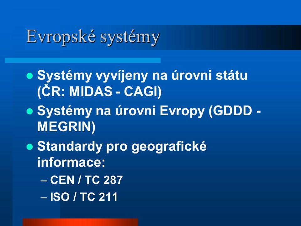 Evropské systémy Systémy vyvíjeny na úrovni státu (ČR: MIDAS - CAGI) Systémy na úrovni Evropy (GDDD - MEGRIN) Standardy pro geografické informace: –CEN / TC 287 –ISO / TC 211