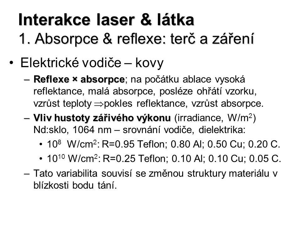 Interakce laser & látka 1. Absorpce & reflexe: terč a záření Elektrické vodiče – kovy –Reflexe × absorpce –Reflexe × absorpce; na počátku ablace vysok