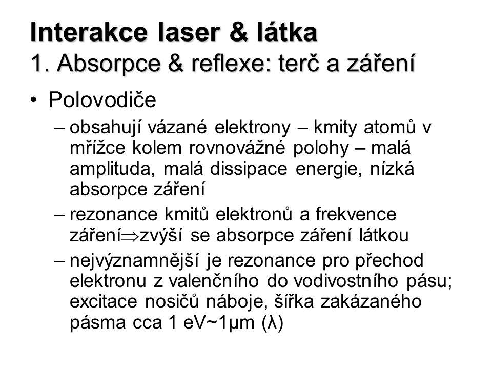 Interakce laser & látka 1. Absorpce & reflexe: terč a záření Polovodiče –obsahují vázané elektrony – kmity atomů v mřížce kolem rovnovážné polohy – ma