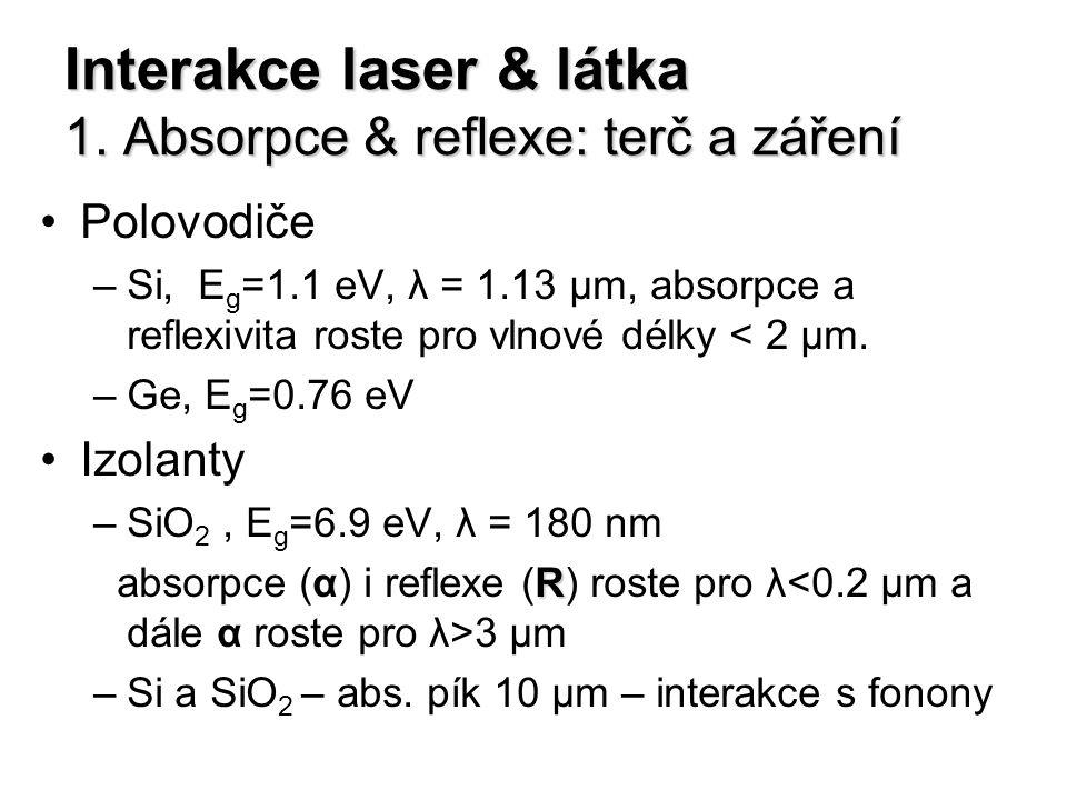 Interakce laser & látka 1. Absorpce & reflexe: terč a záření Polovodiče –Si, E g =1.1 eV, λ = 1.13 μm, absorpce a reflexivita roste pro vlnové délky <
