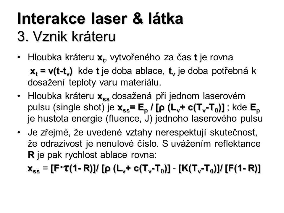 Interakce laser & látka 3. Vznik kráteru x t tHloubka kráteru x t, vytvořeného za čas t je rovna x t = v(t-t v ) t t v x t = v(t-t v ) kde t je doba a