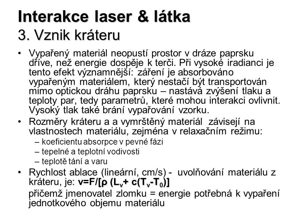 Interakce laser & látka 3. Vznik kráteru Vypařený materiál neopustí prostor v dráze paprsku dříve, než energie dospěje k terči. Při vysoké iradianci j