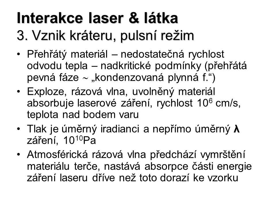 Interakce laser & látka 3. Vznik kráteru, pulsní režim Přehřátý materiál – nedostatečná rychlost odvodu tepla – nadkritické podmínky (přehřátá pevná f