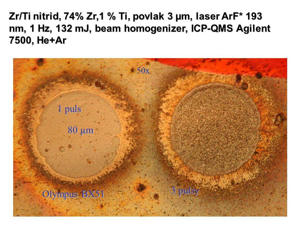 50x 80 µm 1 puls 3 pulsy Olympus BX51 Zr/Ti nitrid, 74% Zr,1 % Ti, povlak 3 µm, laser ArF* 193 nm, 1 Hz, 132 mJ, beam homogenizer, ICP-QMS Agilent 750
