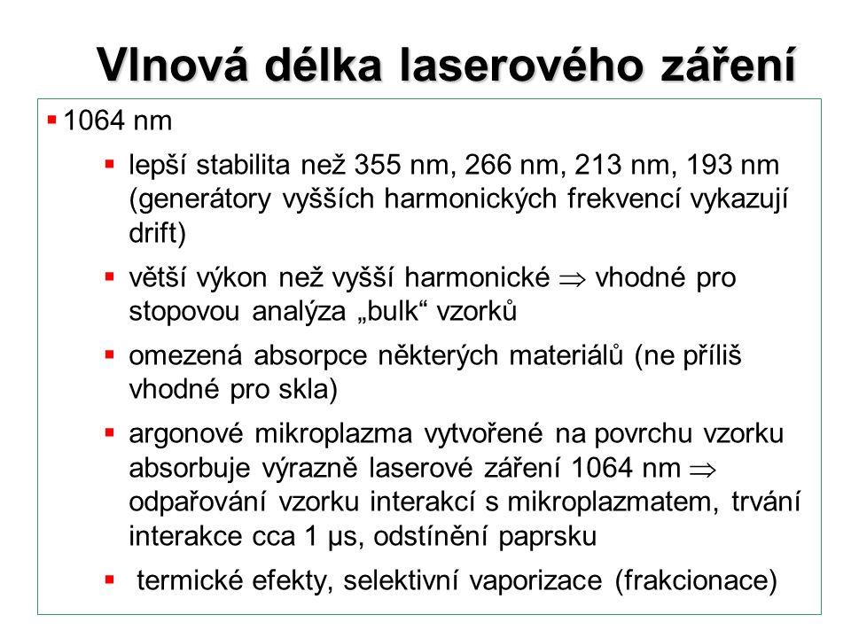 Vlnová délka laserového záření  1064 nm  lepší stabilita než 355 nm, 266 nm, 213 nm, 193 nm (generátory vyšších harmonických frekvencí vykazují drif