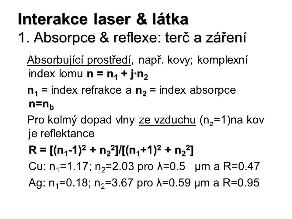 Interakce laser & látka 1. Absorpce & reflexe: terč a záření n = n 1 + j·n 2 Absorbující prostředí, např. kovy; komplexní index lomu n = n 1 + j·n 2 n