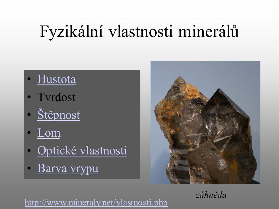 Fyzikální vlastnosti minerálů Hustota Tvrdost Štěpnost Lom Optické vlastnosti Barva vrypu http://www.mineraly.net/vlastnosti.php záhněda