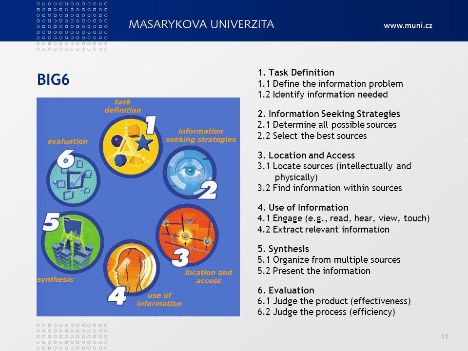 BIG6 11 1.Task Definition 1.1 Define the information problem 1.2 Identify information needed 2.