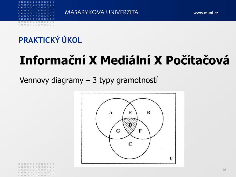 PRAKTICKÝ ÚKOL 16 Vennovy diagramy – 3 typy gramotností Informační X Mediální X Počítačová