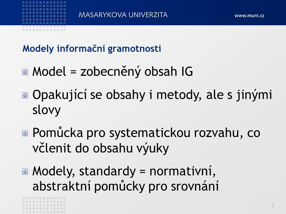 Modely informační gramotnosti 2 Model = zobecněný obsah IG Opakující se obsahy i metody, ale s jinými slovy Pomůcka pro systematickou rozvahu, co včlenit do obsahu výuky Modely, standardy = normativní, abstraktní pomůcky pro srovnání